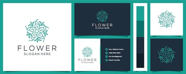 Logo del fiore di lusso con modello di biglietto da visita