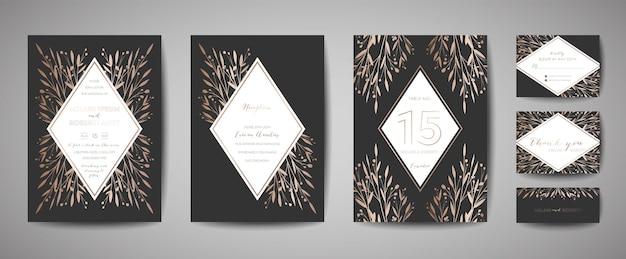 Matrimonio vintage fiore di lusso save the date, collezione di biglietti floreali di invito con cornice in lamina d'oro. copertina alla moda vettoriale, poster grafico, brochure retrò, modello di design