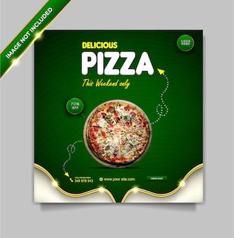 Set di modelli di banner per social media con pizza deliziosa menu di cibo di lusso