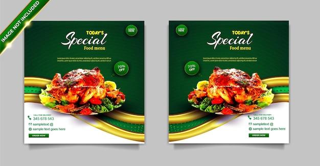 Set di modelli di post banner instagram per promozione sui social media alimentari di lusso