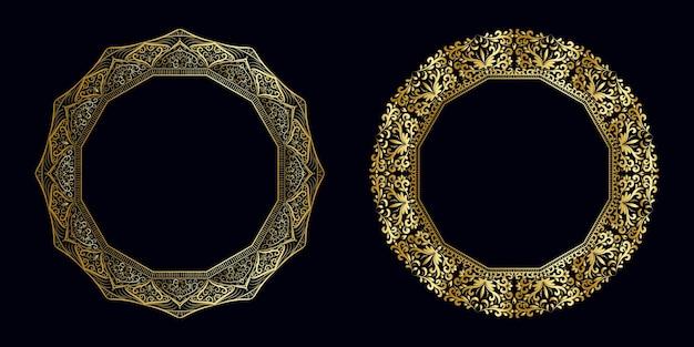Insieme di concetto di mandala dorata cornice di lusso