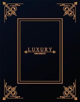 Cornice di lusso dorata con stile vittoriano a sfondo nero
