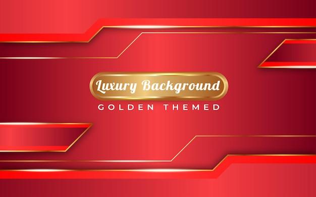 Tema dorato di sfondo sfumato rosso pieno di lusso