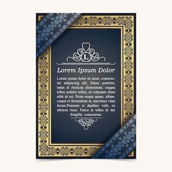 Design del testo del volantino con motivo geometrico di lusso