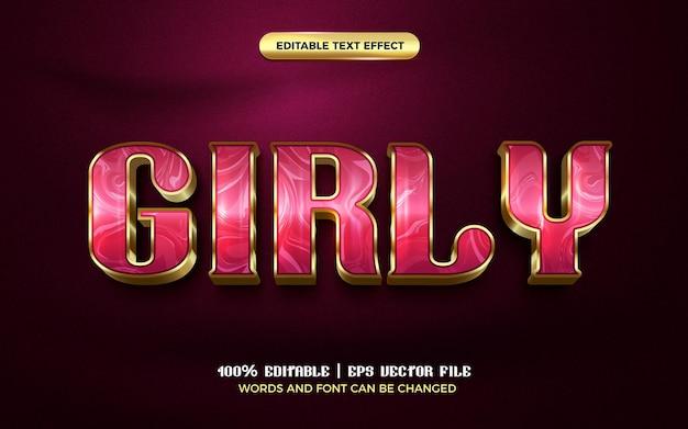 Effetto di testo modificabile 3d moderno di lusso girly in oro rosa