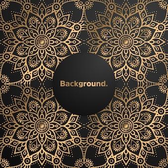 Mandala di lusso sfondo oro colorato