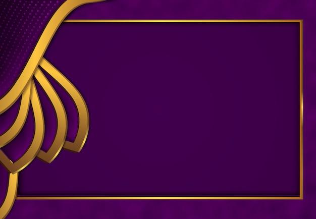Sfondo oro di lusso con metallo viola scuro