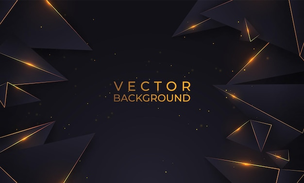 Fondo oro e nero di lusso con forme geometriche con effetto, triangoli lucidi. illustrazione vettoriale di sfondo astratto