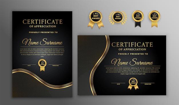 Modello di certificato di lusso oro e nero
