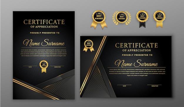 Certificato di lusso mezzitoni oro e nero con badge e modello di bordo linea