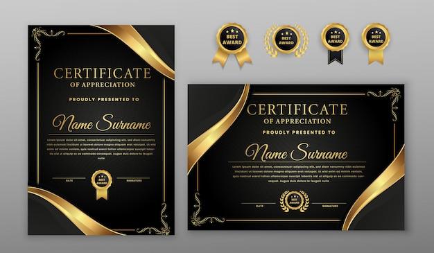 Certificato di mezzitoni oro e nero di lusso con badge oro e modello di bordo