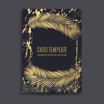 Oro di lusso, sfondo astratto in marmo nero, biglietto, invito con foglie di palma dorate e design premium. matrimonio, compleanno, estate, modelli di foglie, cornice geometrica e trama.