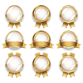 Collezione di distintivi vuoti in oro di lusso