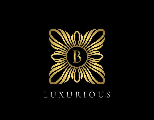 Modello di logo lettera b di lusso in oro boutique