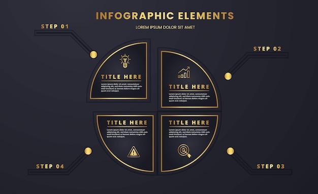 Diagramma circolare di lusso in oro e scuro infografica strategica e analisi del modello di business grafico