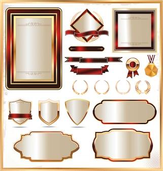 Etichetta con cornice in oro di lusso. vettore