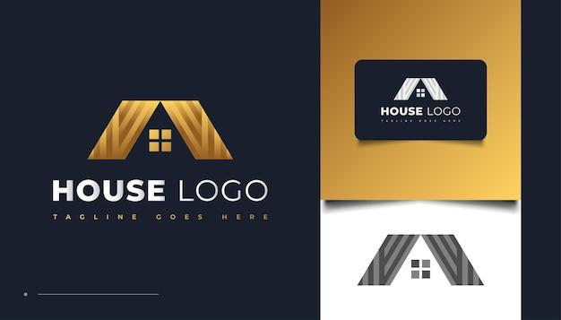 Luxury gold house logo design con stile di carta per l'identità del settore immobiliare. modello di progettazione del logo di costruzione, architettura o edificio