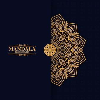 Luxury gold mandala isolato su blu scuro