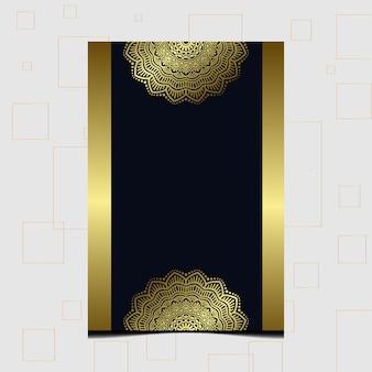 Mandala d'oro di lusso ornato per invito a nozze, copertina del libro con stile elemento mandala