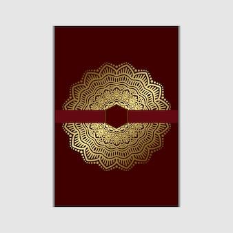 Mandala d'oro di lusso ornato per invito a nozze con stile elemento mandala