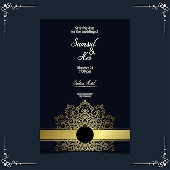 Invito a nozze ornato di lusso mandala d'oro.