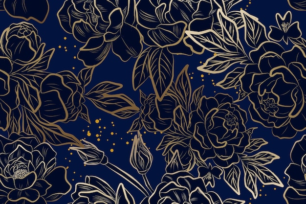 Fiore di peonia d'oro di lusso con motivo senza cuciture blu