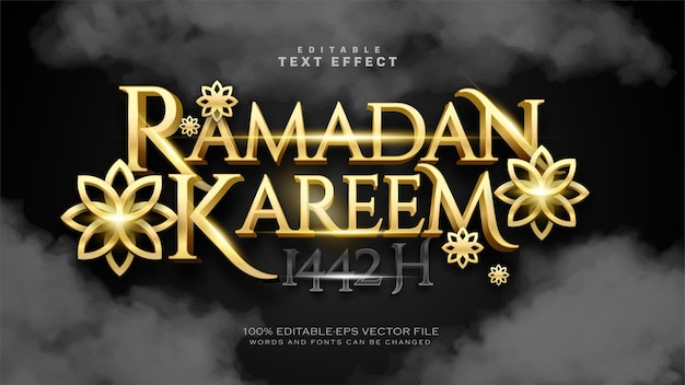 Effetto di testo di lusso oro ramadan kareem