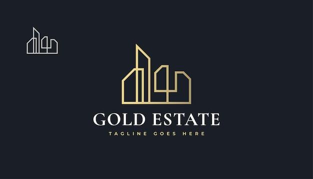 Luxury gold real estate logo design con stile di linea. costruzione, architettura o costruzione di logo design