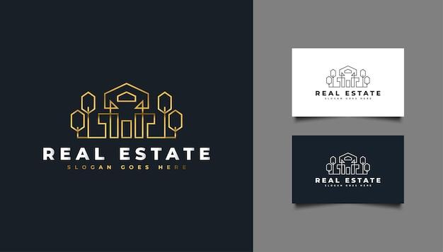 Logo di lusso immobiliare in oro con stile di linea. modello di progettazione del logo di costruzione, architettura o edificio