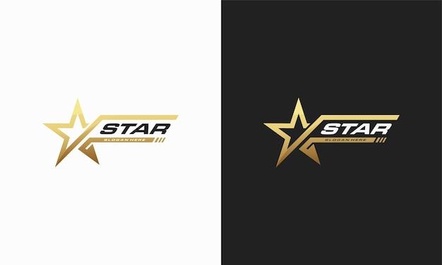 Modello di disegni di logo di lusso gold star, disegni di logo di stelle eleganti
