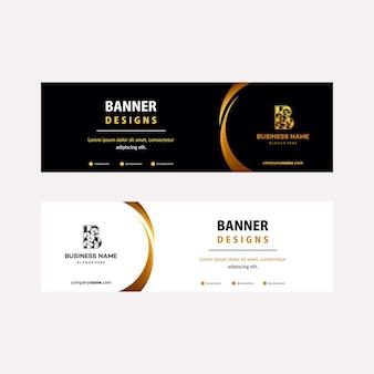 Modello di banner web di lusso gold con elementi diagonali per una foto. design universale per attività pubblicitarie