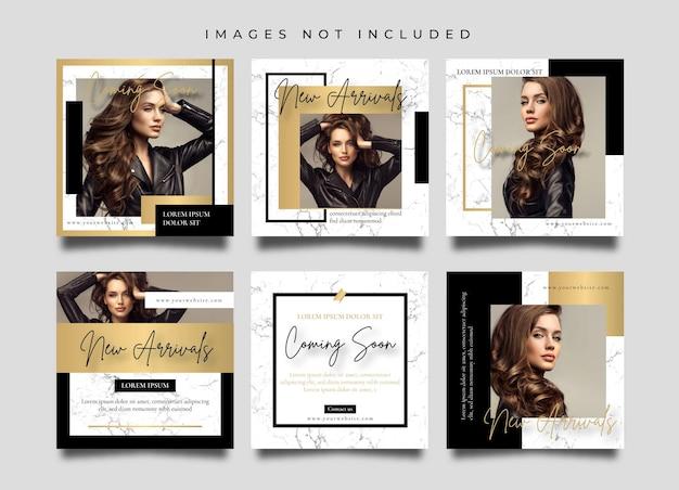 Le donne d'oro di lusso modano i social media e il modello di progettazione di post o banner di instagram