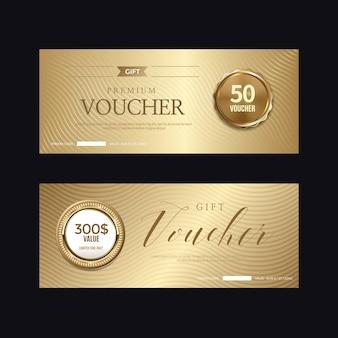 Distintivo dorato di lusso ed etichette, carta voucher