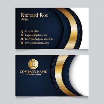 Modello di biglietto da visita dorato di lusso