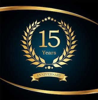 Design dorato di lusso per l'anniversario della corona di alloro