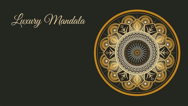 Fondo dorato di lusso di mandela di stile etnico. modello islamico di lusso.