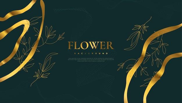 Fondo dorato di lusso del fiore con le foglie tropicali eleganti dell'estate. sfondo di natura di lusso con illustrazione floreale