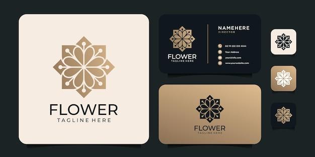 Logo fiore dorato di lusso