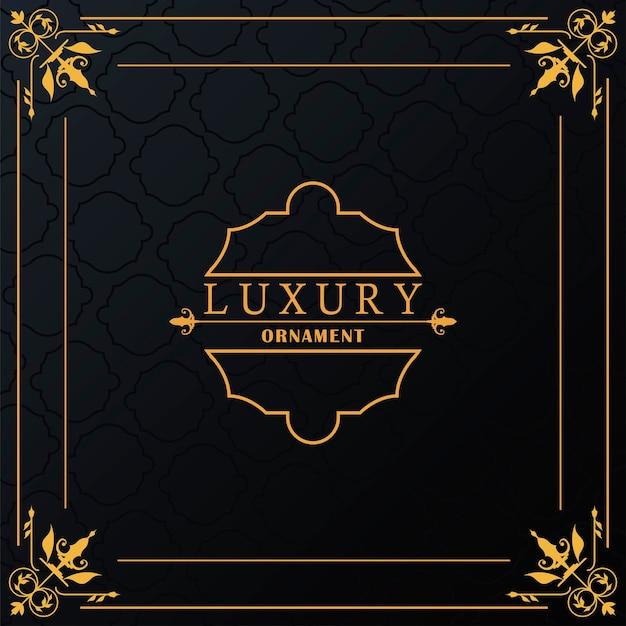 Cornice dorata di lusso con stile vittoriano in sfondo nero