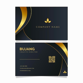 Modello di carte d'identità aziendali di lusso linea dorata