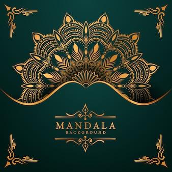 Sfondo di mandala dorata di lusso con arabesco dorato arabo stile orientale islamico