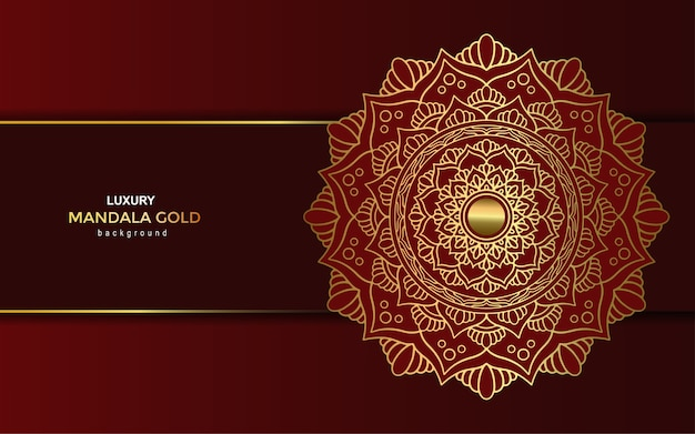Sfondo ornato di lusso dorato mandala, stile arabesco.
