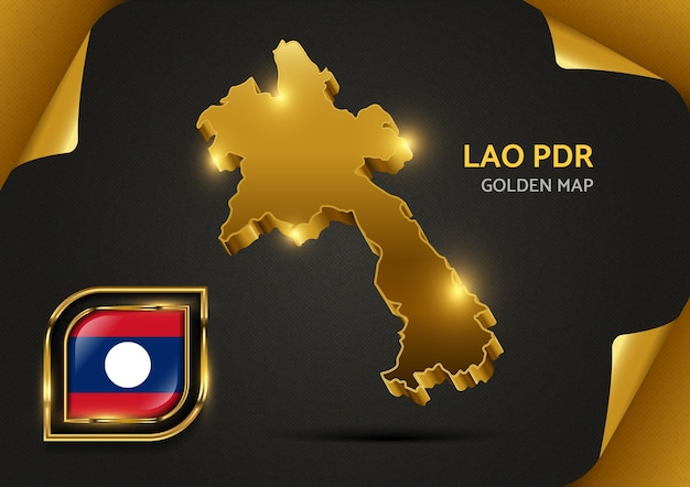Luxury golden map lao pdr