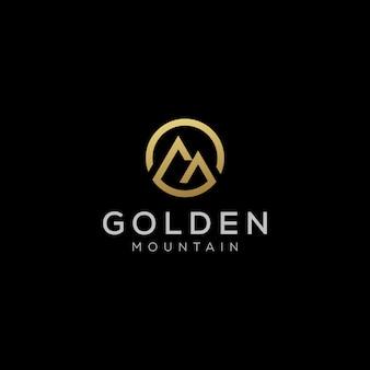 Design del logo di lusso golden mountain hill
