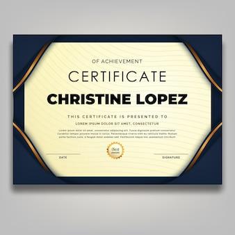 Modello di certificato cornice ornamento d'oro di lusso