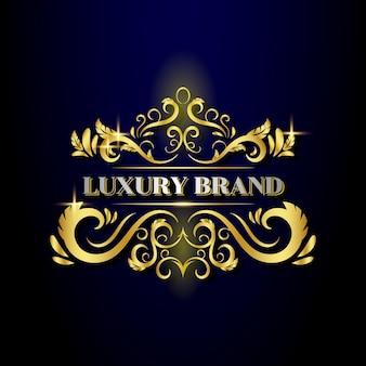 Modello di logo di design ornamentale dorato di lusso