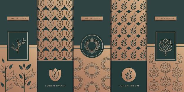Design di packaging dorato di lusso, fiore, natura, floreale, ulivo, motivo.