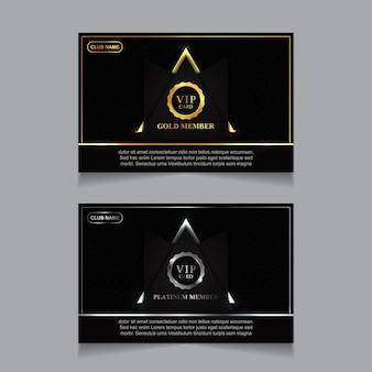 Modello di progettazione di carta vip di lusso dorato e platino