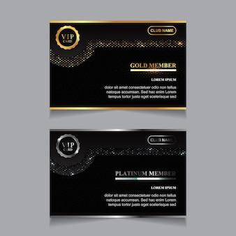 Modello di progettazione di tessera membro vip di lusso dorato e platino