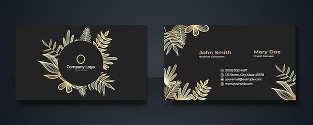 Design di biglietti da visita premium d'oro di lusso. collezione di poster minimalista astratto con linee dorate su sfondo nero. sfondo floreale. ideale per volantino, copertina, biglietto da visita